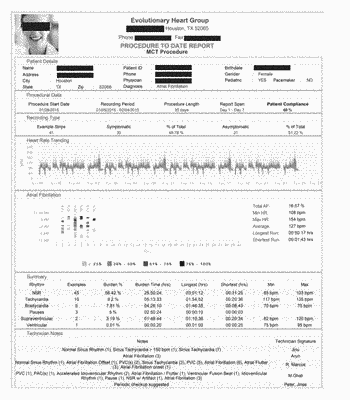 End of service summary report for mobile cardiac outpatient telemetry