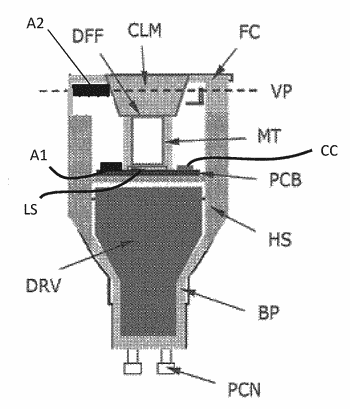 Lighting device with first and second coupled and inter-movable antennas