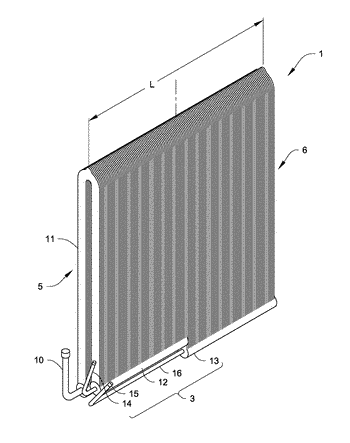 Microchannel heat exchanger with an inward gas/liquid distribution structure