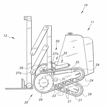 Powered hand truck with pivoting tracks