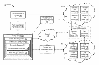 Digital audiovisual content campaigns using merged television viewer information and online activity information