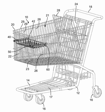 Retractable tray for shopping cart