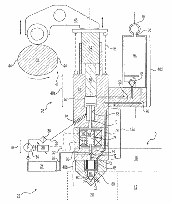 Common rail fuel system having pump-accumulator injectors