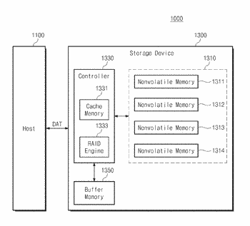 Storage device storing data using raid