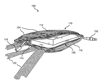 Portable battery pack comprising a battery enclosed by a wearable and replaceable pouch or skin