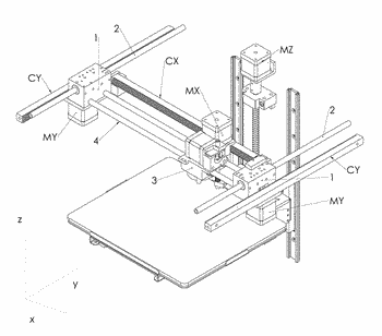 Mechatronic movement system for three-dimensional printer using helical racks and pinions