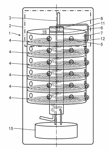 Reactor device for the release of a gas from a starting material