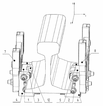 Device for fastening trackside modules to rails