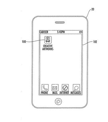 Portable electronic device with a creative artworks picture application operating in response to geofencing