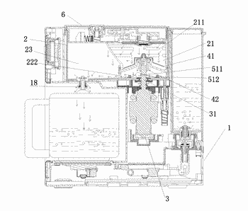 Coffee machine with leak preventing device and working method therefor