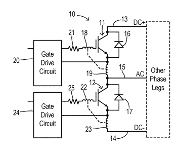 Active gate clamping for inverter switching devices with enhanced common source inductance