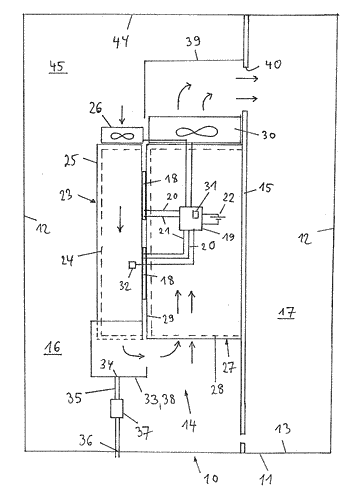 Device and method for removing moisture from a switch cabinet
