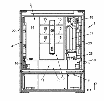 Household refrigeration appliance with specific mounting of a cover plate to a receiving space for ...
