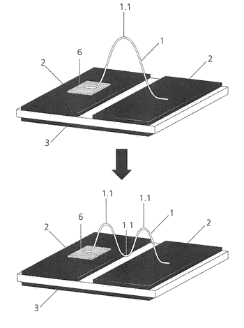 Electrically conductive bond between at least two electrical components at a carrier mounted with electronic ...