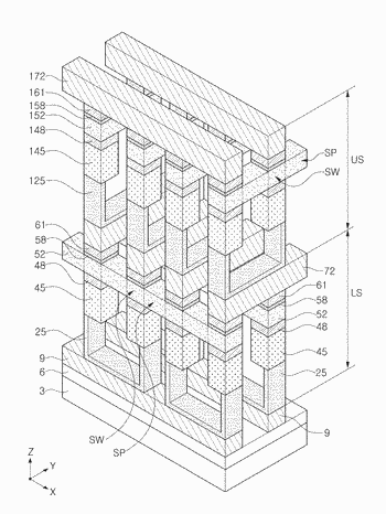 Semiconductor device including a line pattern having threshold switching devices